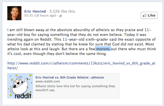 """""""But there are a few morons out there who must think it's cool, even though they don't believe the same thing."""""""